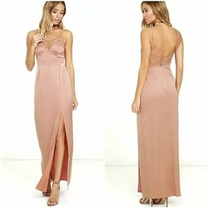 NBD Daisy Maxi Slip Dress S Blush Peach Lace
